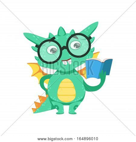 Little Anime Style Smart Bookworm Baby Dragon Reading A Book Cartoon Character Emoji Illustration. Vector Childish Emoticon Drawing With Fantasy Dragon-like Cute Creature.
