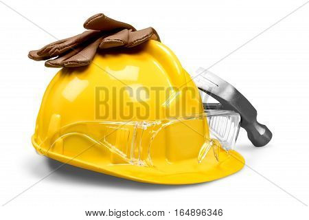 Working yellow hard hat, work gloves, safety glasses, ear plugs, hammer builder on a white background