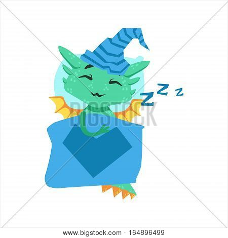 Little Anime Style Baby Dragon Sleeping In Bed With Night Hat Cartoon Character Emoji Illustration. Vector Childish Emoticon Drawing With Fantasy Dragon-like Cute Creature.