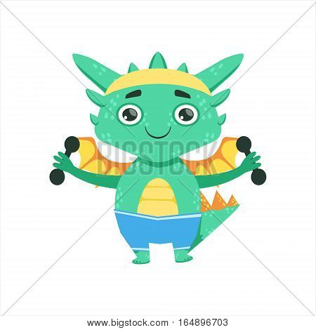 Little Anime Style Baby Dragon Exercising With Dumbbells Cartoon Character Emoji Illustration. Vector Childish Emoticon Drawing With Fantasy Dragon-like Cute Creature.