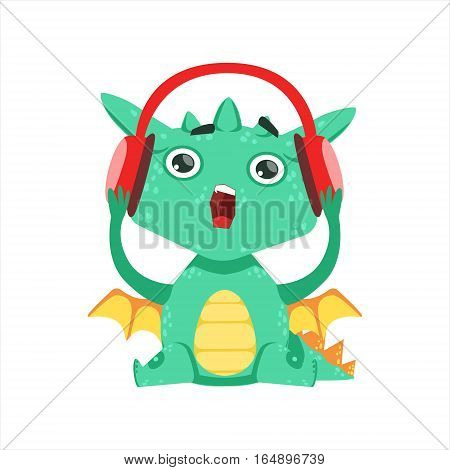 Little Anime Style Baby Dragon Listening To Music With Headphones Cartoon Character Emoji Illustration. Vector Childish Emoticon Drawing With Fantasy Dragon-like Cute Creature.