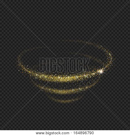 The tornado of light with sparkling lines. swirling circles Motion element on black background glowing light. Shiny gold effect. Vector illustration.