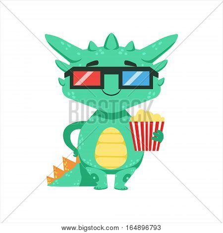 Little Anime Style Baby Dragon In Movie Theatre In 3D Glasses Cartoon Character Emoji Illustration. Vector Childish Emoticon Drawing With Fantasy Dragon-like Cute Creature.