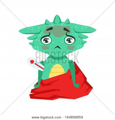 Little Anime Style Baby Dragon With Fever Feeling Sick Cartoon Character Emoji Illustration. Vector Childish Emoticon Drawing With Fantasy Dragon-like Cute Creature.