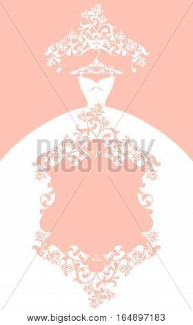 wedding dress design - elegant pastel colored vector card