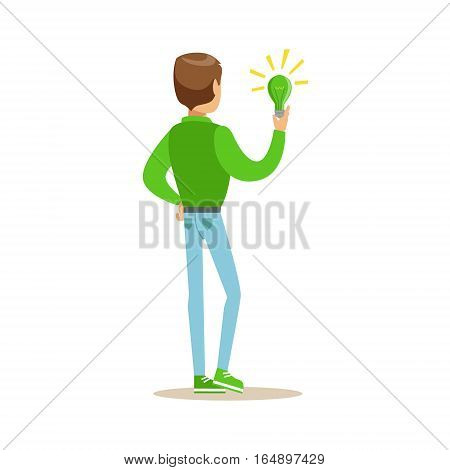 Man Holding A Green Energy Lamp , Contributing Into Environment Preservation By Using Eco-Friendly Ways Illustration. Part Of People And Ecology Series Of Vector Cartoon Drawings.