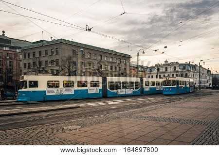 Trams running in Gothenburg Sweden, In beautiful afternoon sunlight Gothenburg, Sweden, 2016-11-22
