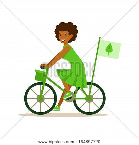 Woman On Bicycle Using Green Transportation , Contributing Into Environment Preservation By Using Eco-Friendly Ways Illustration. Part Of People And Ecology Series Of Vector Cartoon Drawings.