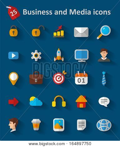 Set of Business and Media Icons. Cloud, Cog, Case, Idea and so on
