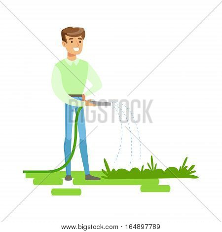 Man Watering Plants With Hose , Contributing Into Environment Preservation By Using Eco-Friendly Ways Illustration. Part Of People And Ecology Series Of Vector Cartoon Drawings.
