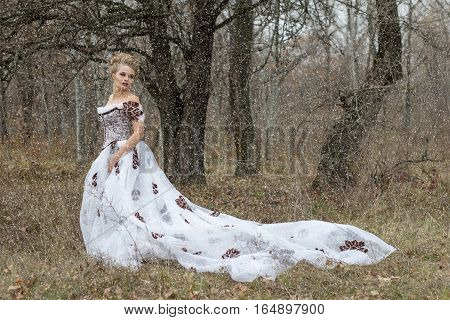 Beautiful young lady in gorgeous vintage white dress in the forest in the fog professional makeup and hairstyle. Late autumn cold. Melancholy. Snow