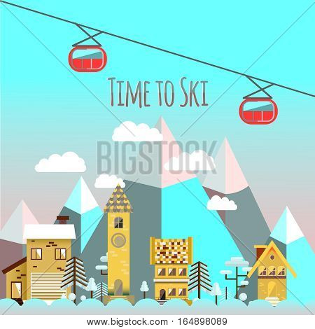 Flat design vector nature winter landscape illustration with houses, mountain, chairlift. Ski resort.