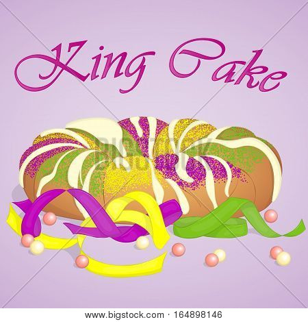 Traditional festive King Cake to celebrate Mardi Gras. Festive beads and ribbons surround the cake. Background for Fat Tuesday in simple cartoon style. Vector illustration. Holiday Collection.