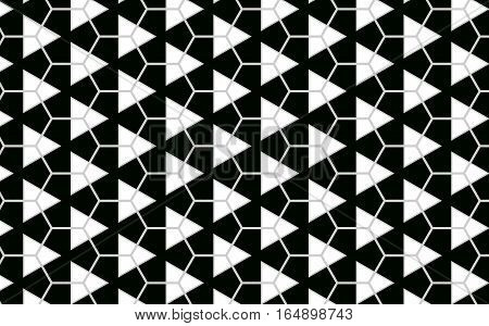 Geometric triangle and hexagonal black and white pattern abstract background
