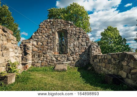 Ruin of old 12th century medieval stone church
