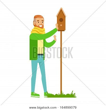Man Instralling Bird House , Contributing Into Environment Preservation By Using Eco-Friendly Ways Illustration. Part Of People And Ecology Series Of Vector Cartoon Drawings.
