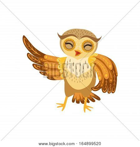 Owl Laughing Cute Cartoon Character Emoji With Forest Bird Showing Human Emotions And Behavior. Vector Illustration With Woodland Animal And Its Life Situation.