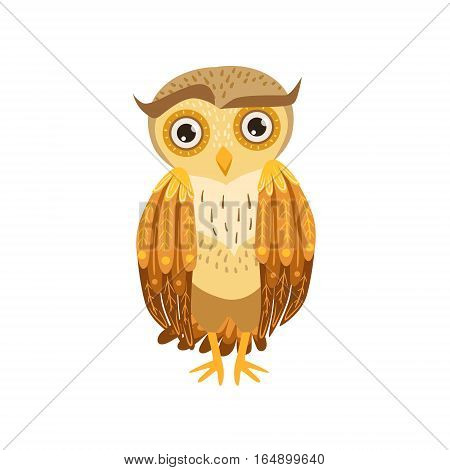 Sceptic Owl Cute Cartoon Character Emoji With Forest Bird Showing Human Emotions And Behavior. Vector Illustration With Woodland Animal And Its Life Situation.