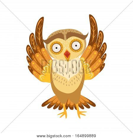 Scared Owl Cute Cartoon Character Emoji With Forest Bird Showing Human Emotions And Behavior. Vector Illustration With Woodland Animal And Its Life Situation.