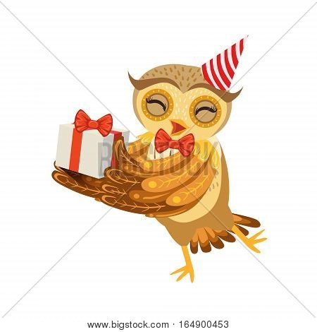 Owl And Birthday Present Cute Cartoon Character Emoji With Forest Bird Showing Human Emotions And Behavior. Vector Illustration With Woodland Animal And Its Life Situation.