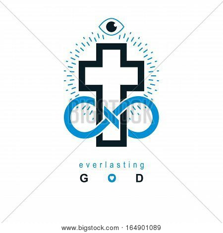 Immortal God Conceptual Symbol Combined With Infinity Loop Sign And Christian Cross, Vector Creative