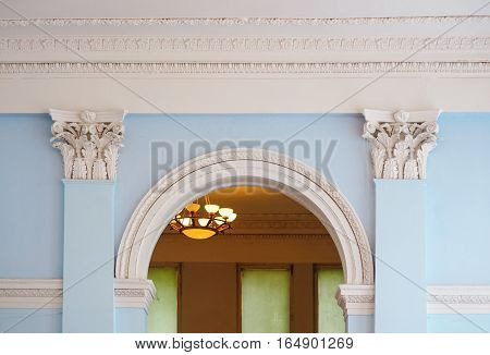 beautiful arch with columns in an old building architecture.