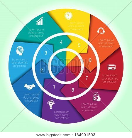 Template cyclic diagramme for Infographic eight position Area chart ring arrows pie chart