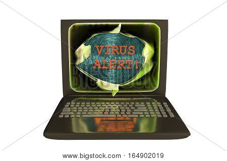Computer virus alert, conceptual image. 3D illustration showing bursting of laptop screen and virus alert words, isolated on white background