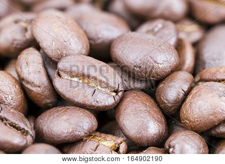 Roasted Coffee Beans Closed Up For Background
