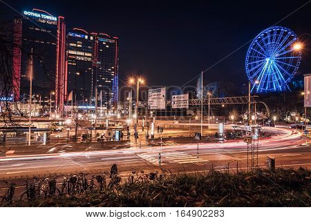 Gothia Towers in Gothenburg The three towers in a colorful night shot. Illuminated ferries wheel in blue. Gothenburg, Sweden 2016-11-22