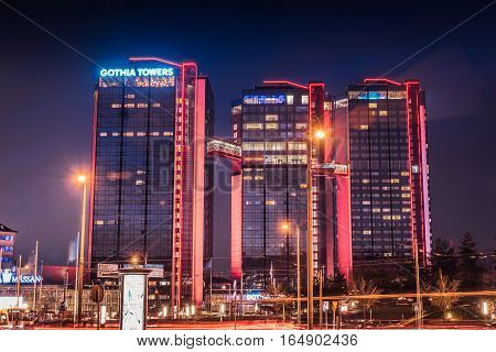 Gothia Towers in Gothenburg The three towers in a colorful night shot. Gothenburg, Sweden 2016-11-22