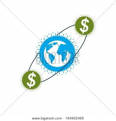 Global Business And E-business Creative Logo, Unique Vector Symbol Created With Different Elements.