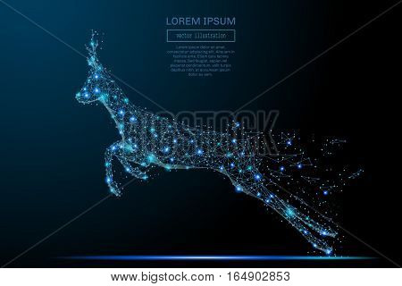Security roe composed of polygons. Low poly vector illustration of a starry sky or Comos. The roe consists of lines, dots and shapes.