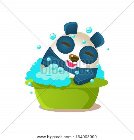 Cute Panda Activity Illustration With Humanized Cartoon Bear Character Having Foam Bath. Funny Animal In Fantastic Situation Vector Emoji Drawing.