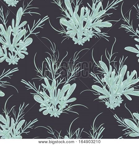 Seamless pattern with sagebrush. Rustic floral background. Vintage vector botanical illustration in watercolor style.