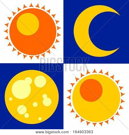 Beautiful and simple graphics on the time of day. Day and night follow each other creating a pattern of time.