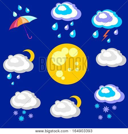 Weather forecast. Beautiful and simple graphics on precipitation and temperature in different seasons during the night.