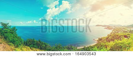 Sunrise over the sea view landscape . Panorama nature vocation concept background