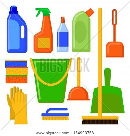 Vector set of cleaning tools. Illustration in flat style.