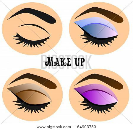 Fashion illustration on the theme of eye makeup. Lesson applying eyeshadow. Multicolored options applying cosmetics.