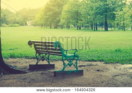 Park Bench in the Morning Light vintage tone