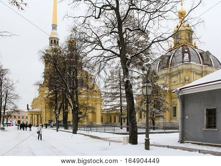 St. Petersburg, Russia - 2 December, People in the Peter Paul Fortress, 2 December, 2016. Land and building the Peter-Paul fortress.