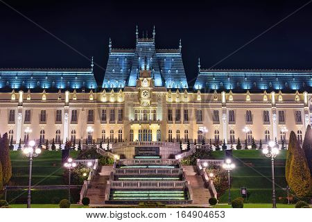 The Palace of Culture edifice in Iasi, Romania. Beautiful Architecture landmark, built during 1906-1925. Night view