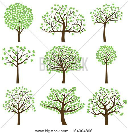 Valentine's Day Tree Silhouettes with Heart Shaped Leaves - Vector Format