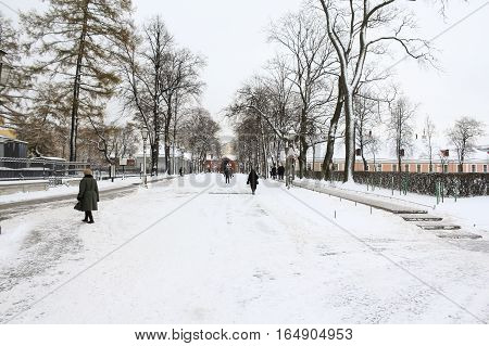 St. Petersburg, Russia - 2 December, The main avenue Petro Paul Fortress, 2 December, 2016. Land and building the Peter-Paul fortress.