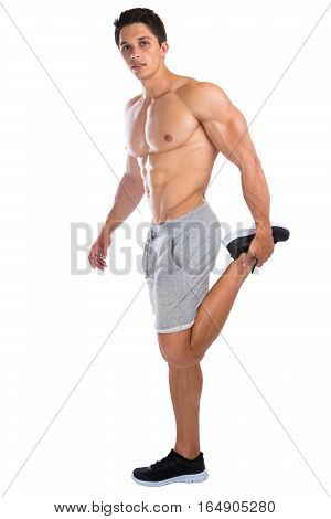 Bodybuilder Bodybuilding Muscles Stretch Legs Stretching Exercise Muscular Young Man Isolated