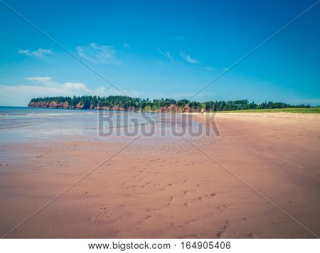 Low tide on a stretch of beach pei