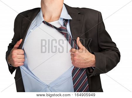 Closeup of a Businessman Ripping his Clothes Off