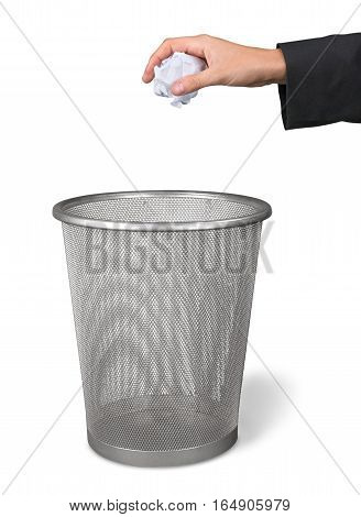 Hand Throwing a Crumpled Paper in a Waste Basket