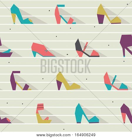 Seamless vector illustration with beautiful heels and shoes pattern with geometric shapes. Bright colors on beige background with white stripes. Pink purple blue and green shoes in geometric style.